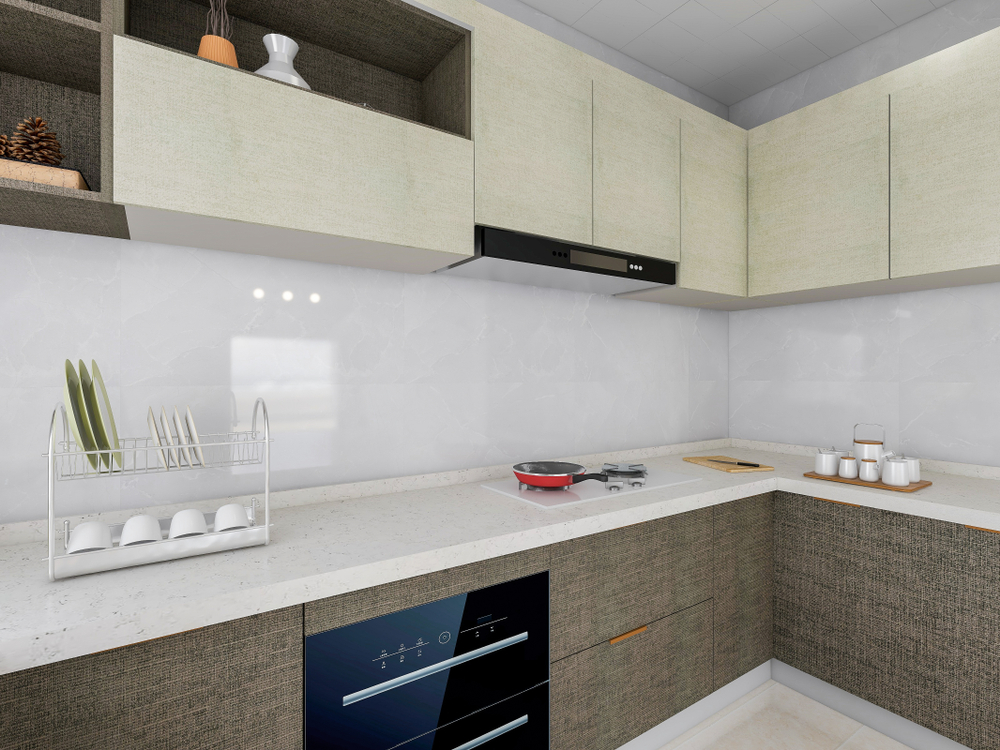: countertop complements white kitchen cabinets